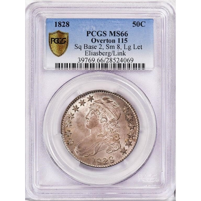 1828 50C Square 2, Small 8, Large Letters Overton 115 Capped Bust Half Dollar PCGS MS66