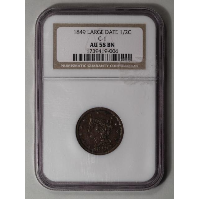1849 Large Date Coronet, Braided Hair Half Cent C-1 1/2C NGC AU58BN