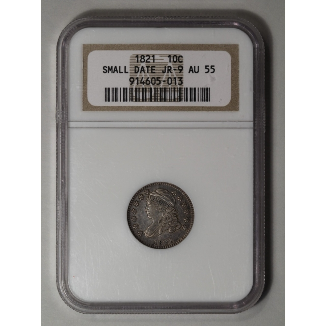 1821 10C Small Date Capped Bust Dime NGC