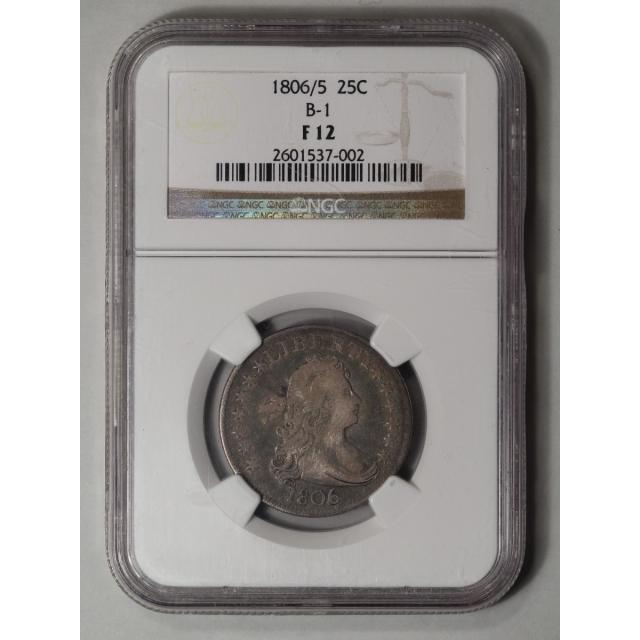 1806/5 Draped Bust, Large Eagle Quarter B-1 25C NGC F12