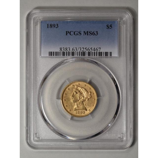 1893 $5 Liberty Head Half Eagle PCGS MS63