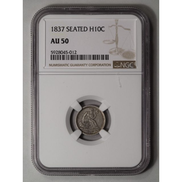 1837 H10C No Stars, Large Date Liberty Seated Half Dime NGC