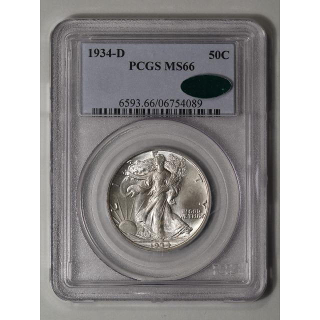 1934-D 50C Walking Liberty Half Dollar PCGS MS66 (CAC)