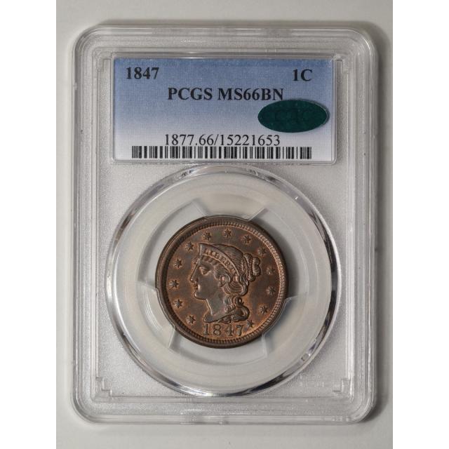 1847 1C Braided Hair Cent PCGS MS66BN (CAC)
