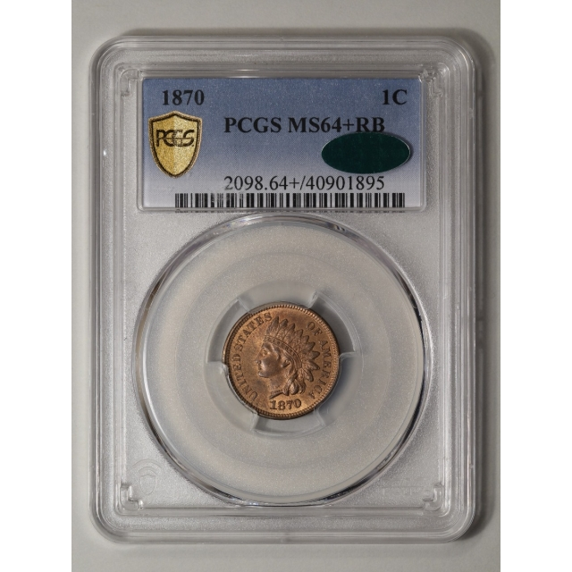 1870 1C Indian Cent - Type 3 Bronze PCGS MS64+RB (CAC)