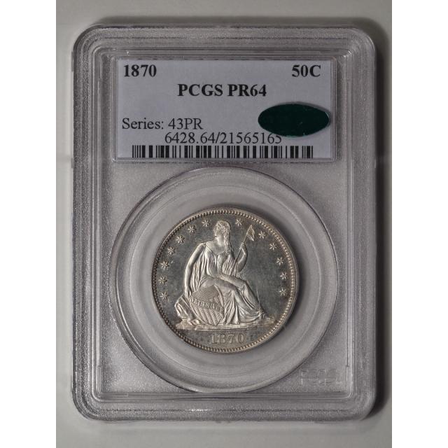 1870 50C Liberty Seated Half Dollar PCGS PR64 (CAC)