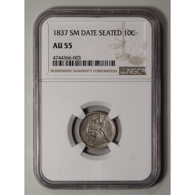 1837 10C No Stars, Small Date Liberty Seated Dime NGC