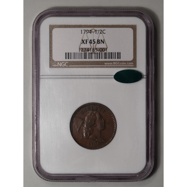 1794 1/2C Liberty Cap Half Cent - Type 2 Facing Right Large Head NGC (CAC)