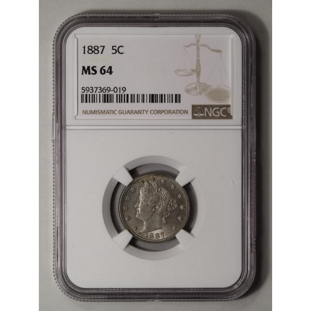 1887 Liberty Nickel 5C NGC MS64 (CAC)