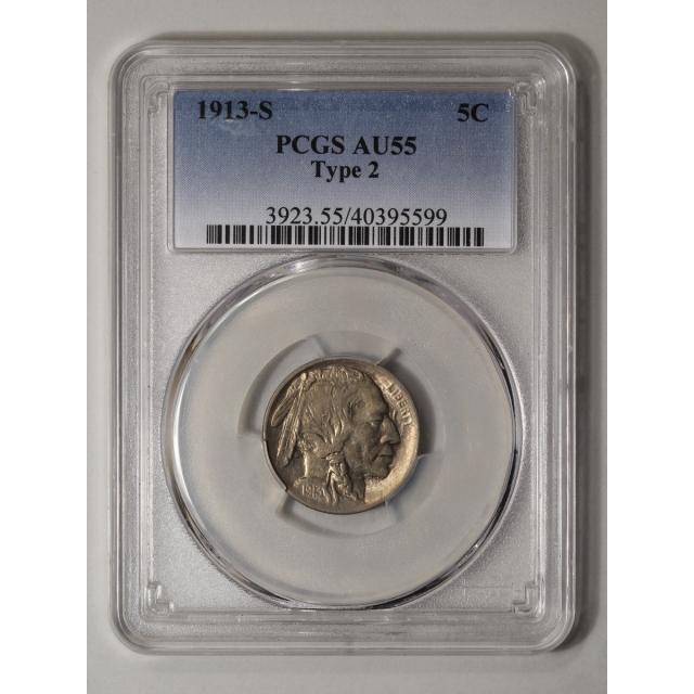 1913-S 5C Type 2 Buffalo Nickel PCGS AU55 (CAC)