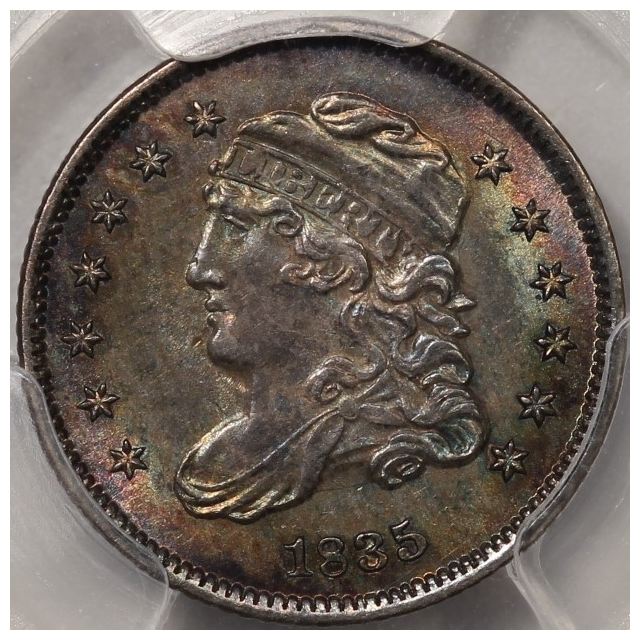 1835 H10C Small Date, Large 5C Capped Bust Half Dime PCGS MS63