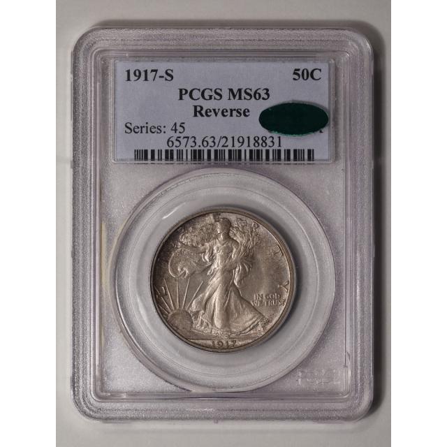 1917-S 50C Reverse Walking Liberty Half Dollar PCGS MS63 (CAC)