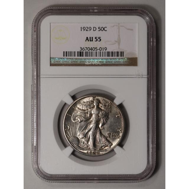1929-D Walking Liberty Half Dollar 50C NGC AU55