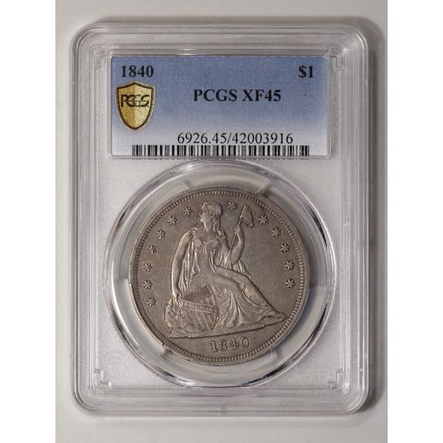 1840 $1 Liberty Seated Dollar PCGS XF45