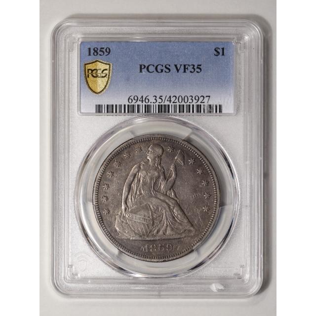 1859 $1 Liberty Seated Dollar PCGS VF35