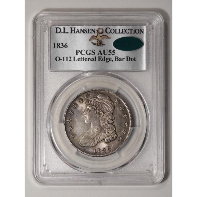 1836 50C Lettered Edge Overton 112 Bar Dot Capped Bust Half Dollar PCGS AU55 (CAC)