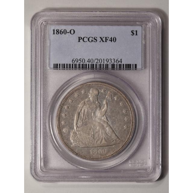 1860-O $1 Liberty Seated Dollar PCGS XF40