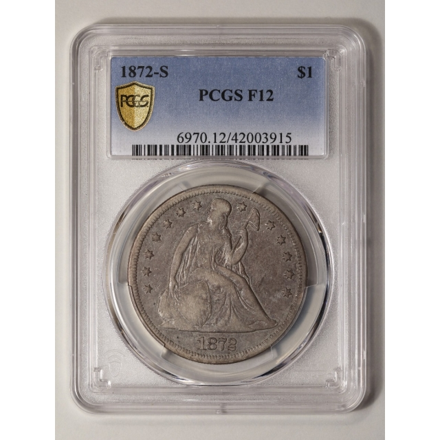 1872-S $1 Liberty Seated Dollar PCGS F12