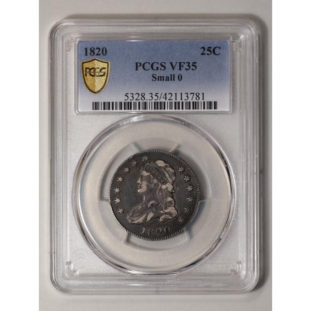 1820 25C Small 0 Capped Bust Quarter PCGS VF35