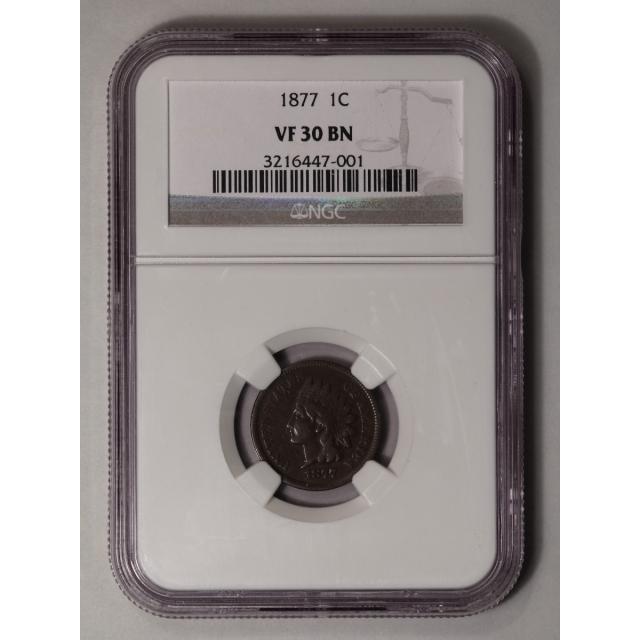 1877 Bronze Indian Cent 1C NGC VF30BN