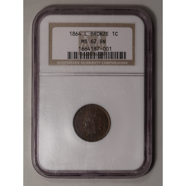 1864 1C L On Ribbon Indian Cent - Type 3 Bronze NGC MS62