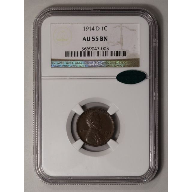 1914-D Wheat Reverse Lincoln Cent 1C NGC AU55BN (CAC)