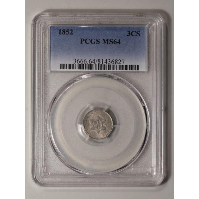 1852 3CS Three Cent Silver PCGS MS64 CAC