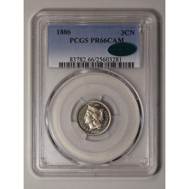 1886 3CN Three Cent Nickel PCGS PR66CAM (CAC)