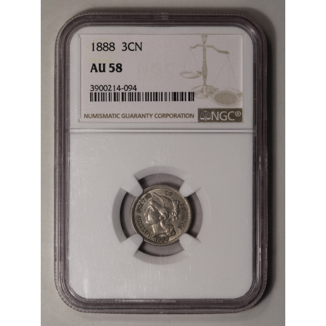 1888 Three Cent Piece - Copper Nickel 3CN NGC AU58
