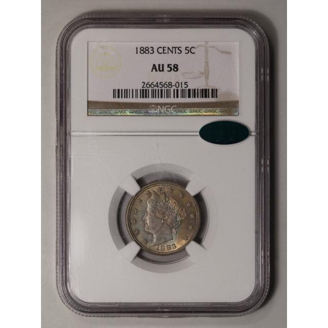 1883 CENTS Liberty Nickel 5C NGC AU58 (CAC)