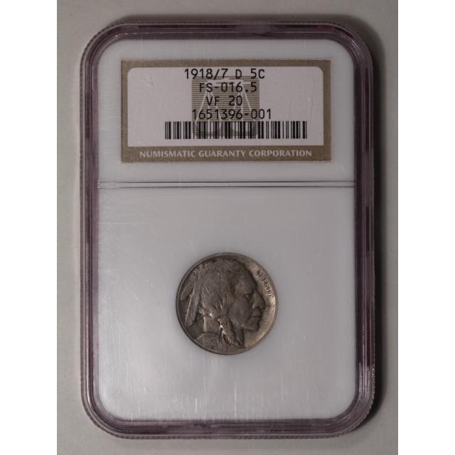 1918/7-D Buffalo Nickel Type 2 5C NGC VF20