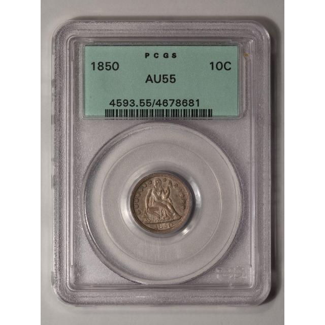 1850 10C Liberty Seated Dime PCGS AU55 CAC