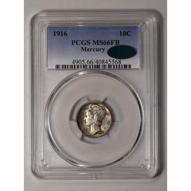 1916 10C Mercury Dime PCGS MS66FB (CAC)