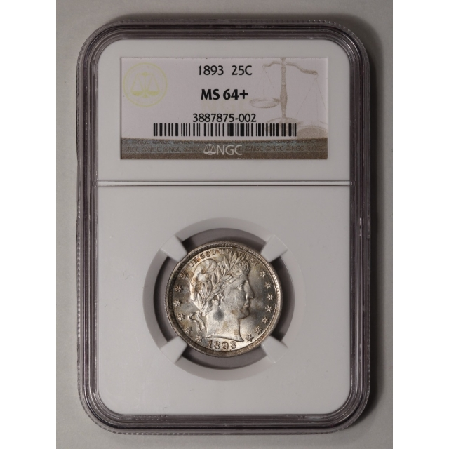 1893 Barber Quarter 25C NGC MS64+