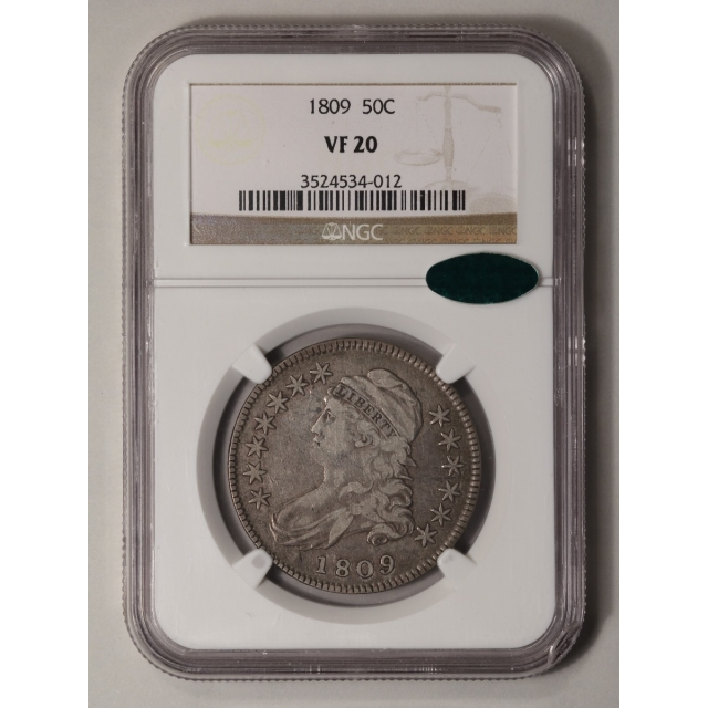 1809 Capped Bust, Lettered Edge 50C NGC VF20 (CAC)