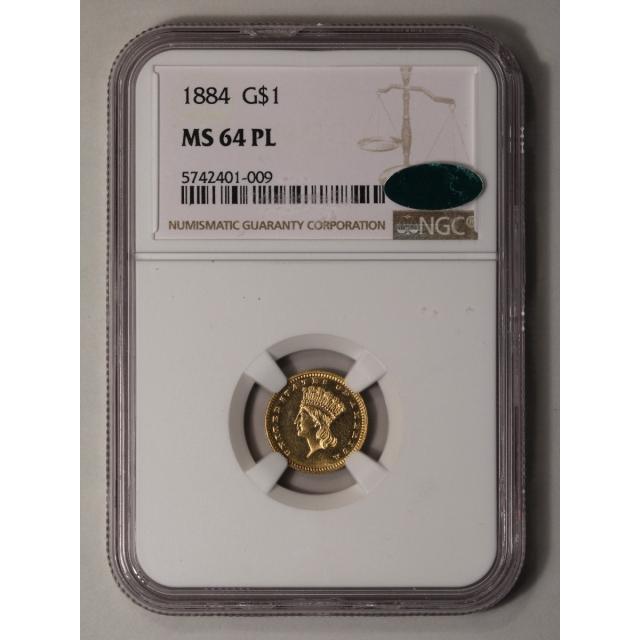 1884 Gold Dollar - Type 3 G$1 NGC MS64PL (CAC)