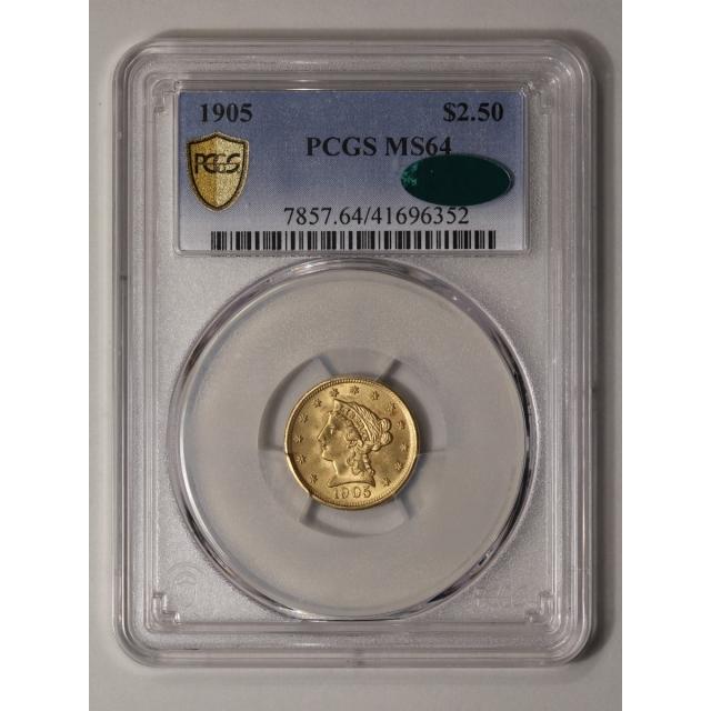 1905 $2.50 Liberty Head Quarter Eagle PCGS MS64 (CAC)