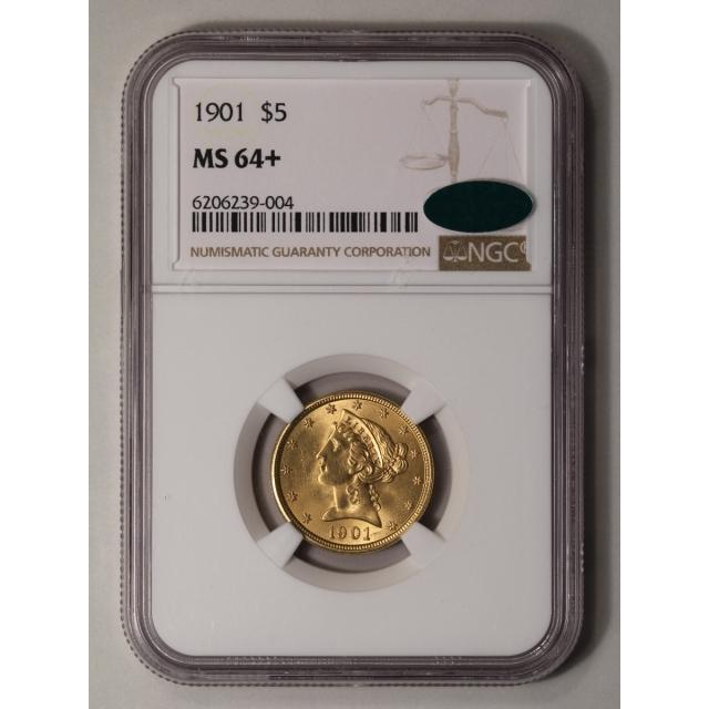 1901 Half Eagle - Motto $5 NGC MS64+ (CAC)