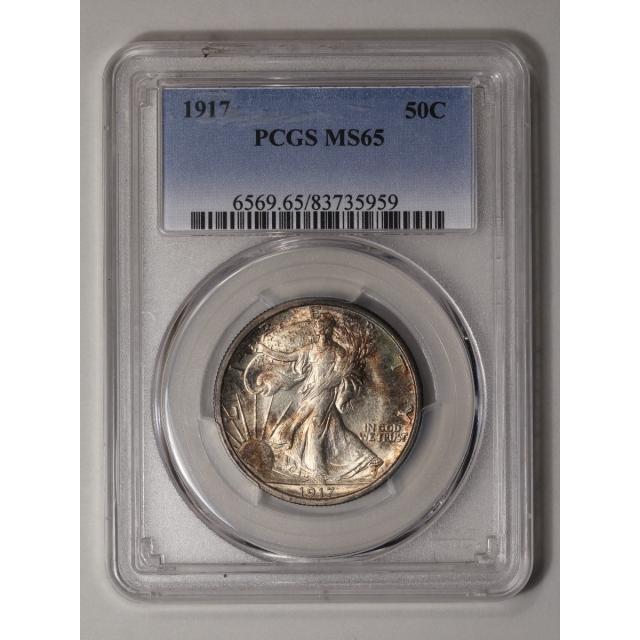 1917 50C Walking Liberty Half Dollar PCGS MS65