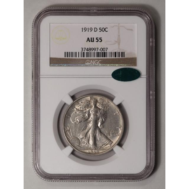 1919-D Walking Liberty Half Dollar 50C NGC AU55 (CAC)