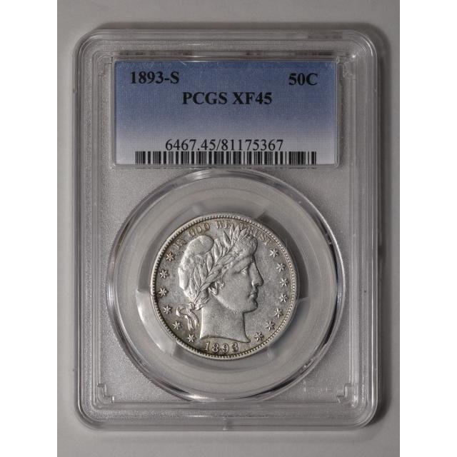 1893-S 50C Barber Half Dollar PCGS XF45