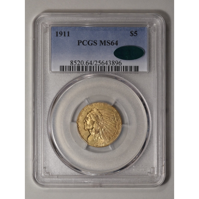 1911 $5 Indian Head PCGS MS64 (CAC)