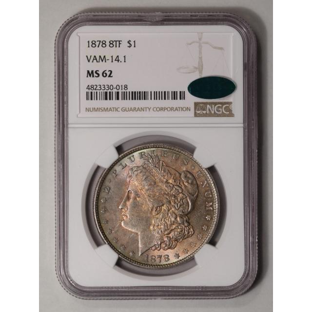 1878 8TF Morgan Dollar VAM-14.1 S$1 NGC MS62 (CAC)