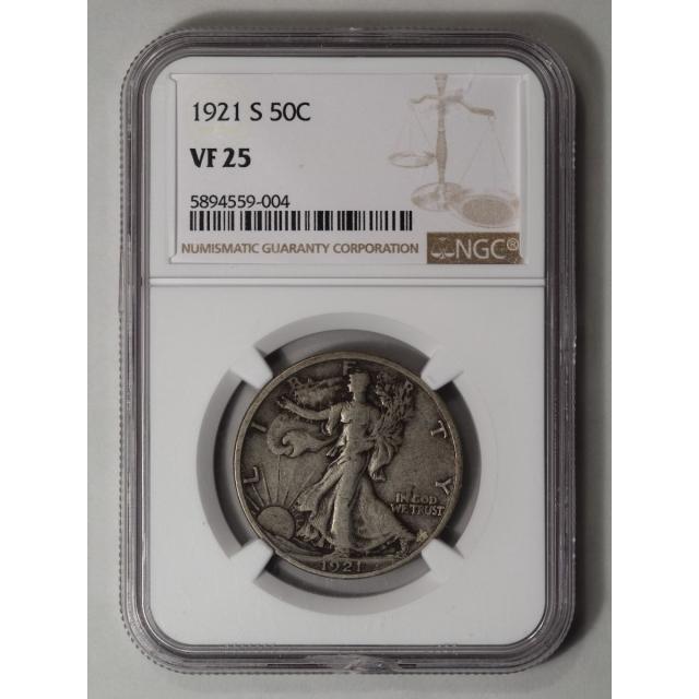 1921-S 50C Walking Liberty Half Dollar NGC
