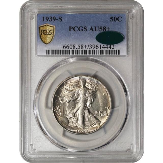 1939-S Walking Liberty Half Dollar 50c PCGS AU58+ (CAC)